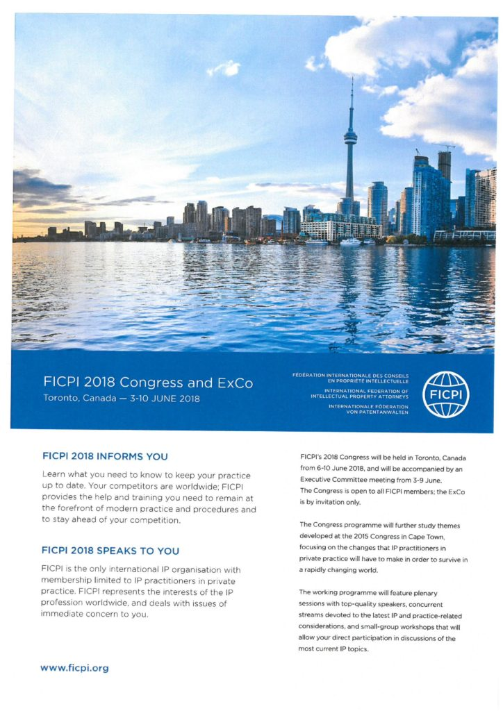 Aktuální akce: FICPI 2018 Congress and ExCo (Kanada)